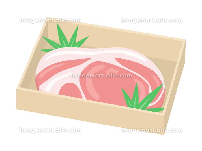 木箱に入った豚肉のイラストの販売画像
