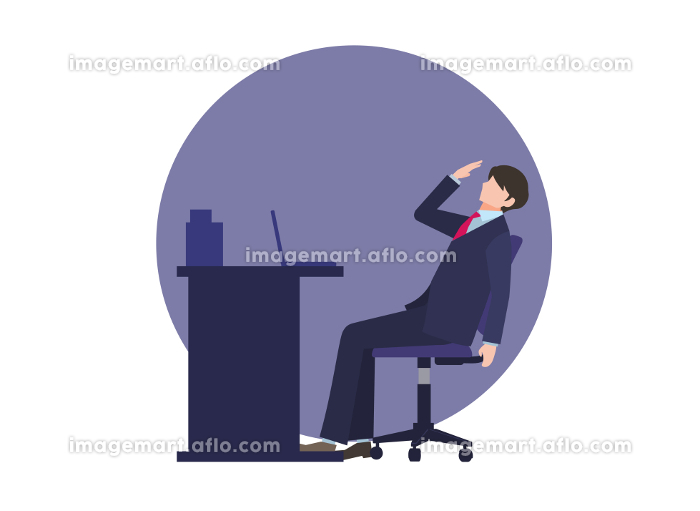 デスクの前で疲れている男性会社員 人物フラットイラスト ビジネスシーン ベクターの販売画像