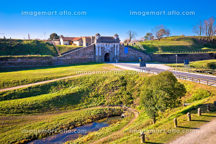 Town of Palmanova defense walls and stone gate view