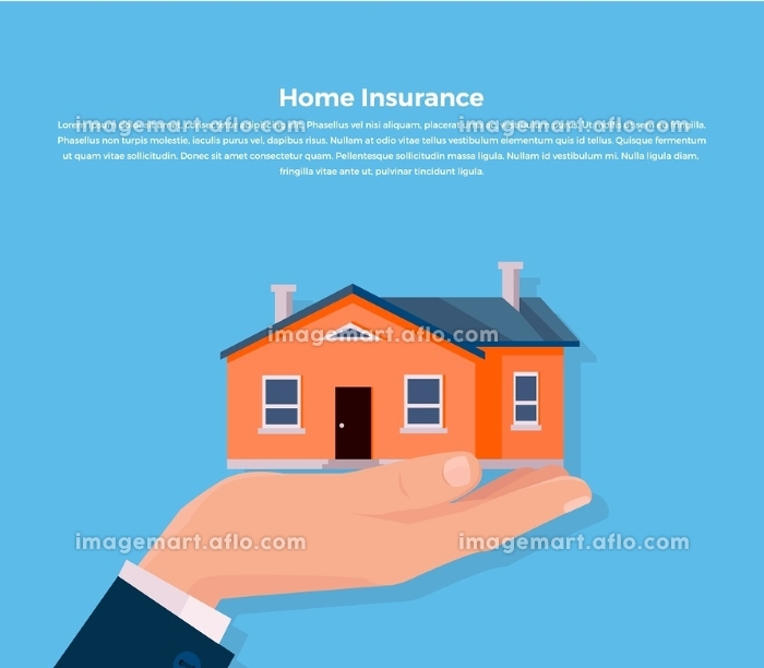 Insurance Home Concept. House insurance. Insurance agent keeps the house on the palm and buyer gives the money dollars. Vector illustration