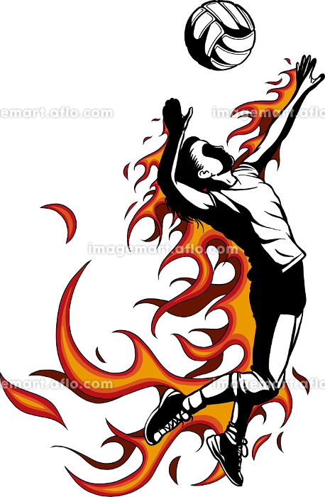 Silhouette of volleyball player with flames. Vector illustration.の販売画像