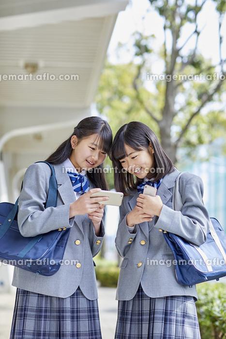 スマートフォンを見る女子中学生