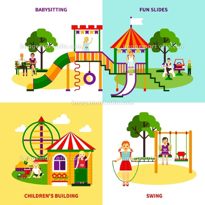 Playground Design Concept. Color flat composition 2x2 design concept of outside playground with swing babysitting childrens bilding fun slides vector illustrationの販売画像