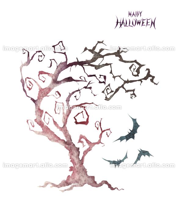 ハロウィン ハロウィーン 不気味な木 水彩 イラストの販売画像