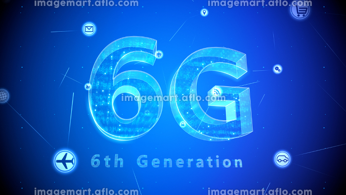 6G テクノロジー アイコン ネットワーク シンボル インターネット デジタル 3D イラストの販売画像