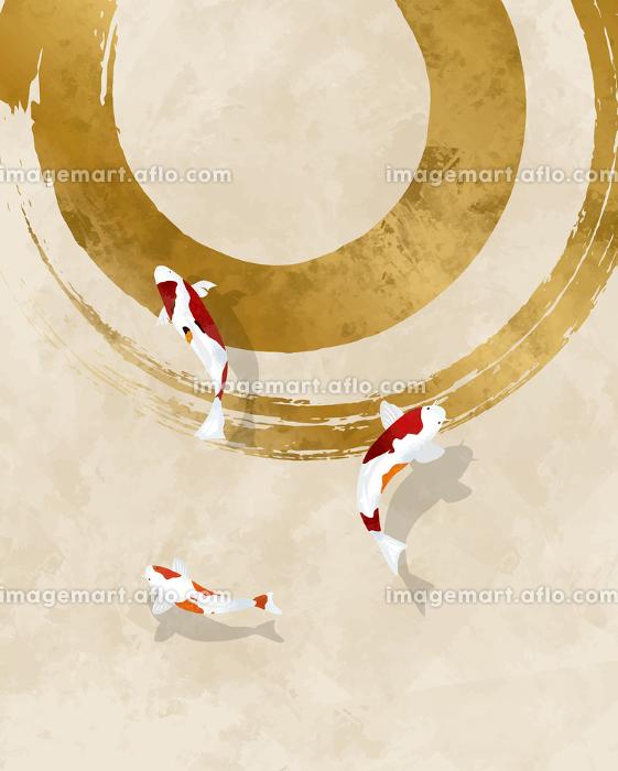 錦鯉と水彩風和風背景素材の販売画像