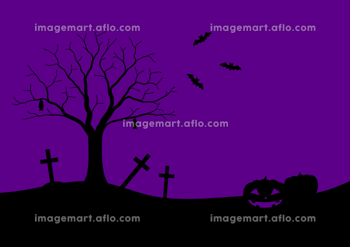 ハロウィンのシルエットフレームイラスト 1 黒紫の販売画像