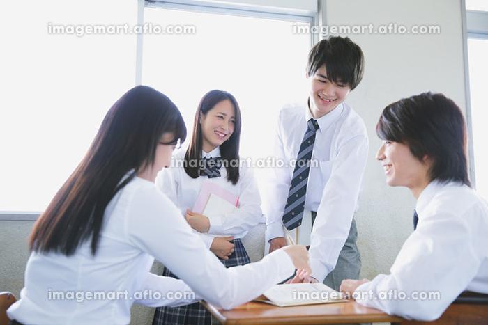 宿題を討論する高校生たちの販売画像