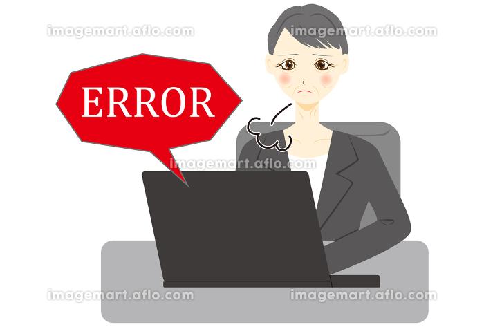 パソコン 女性 会社員 ミドル エラーの販売画像