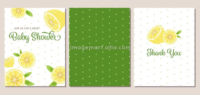レモンテーマのベビーシャワー招待状、お礼状、パターンのセットの販売画像