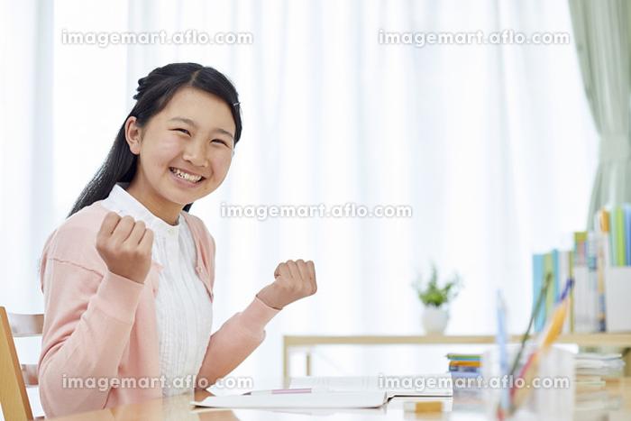 自宅学習する女子中学生の販売画像