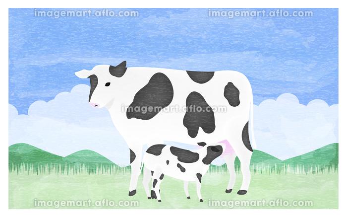 母牛の乳を吸う子牛のイラスト 夏の牧場での販売画像