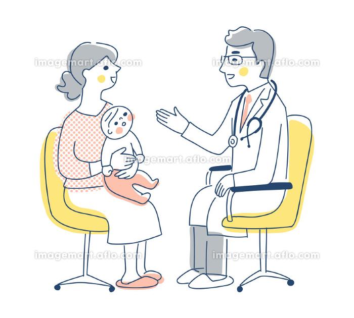 診察を受けているママと赤ちゃんの販売画像