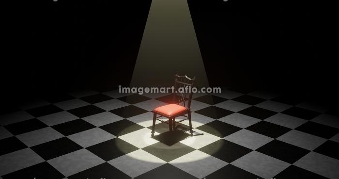 暗闇の中でスポットライトに照らされた椅子 3DCGインテリアの販売画像