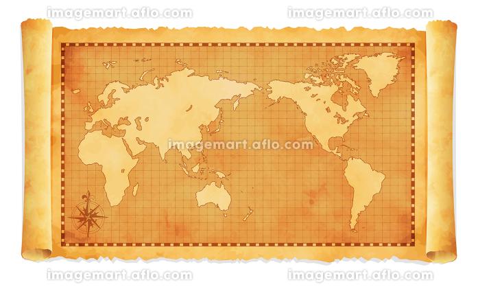 色褪せて丸まった古地図イラスト / 世界地図の販売画像