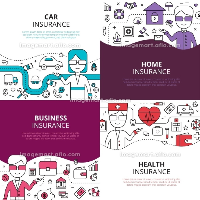 Insurance 4 linear design icons square. Home health and auto insurance business policies concept 4 linear icons square composition design abstract vector illustrationの販売画像