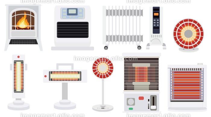 イラスト素材 家電 暖房 アイコン セット 冬素材 ベクターの販売画像