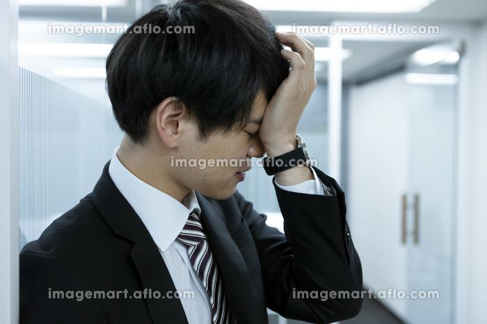 頭を抱えるビジネスマンの販売画像