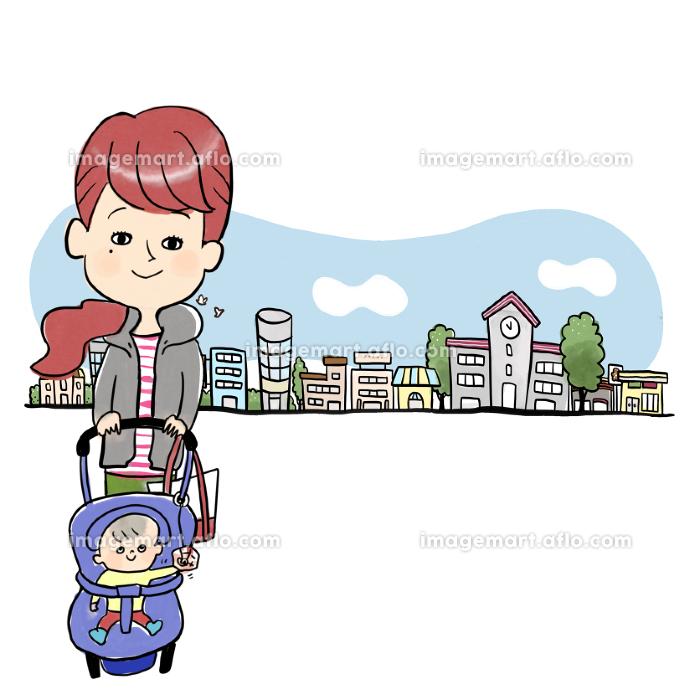 住宅街と母子の販売画像