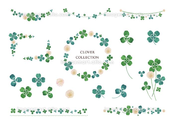 クローバー 水彩素材 フレーム、装飾 デザインセットの販売画像