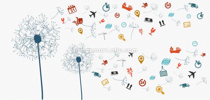 Shipping logistics icons abstract dandelion illustration.の販売画像