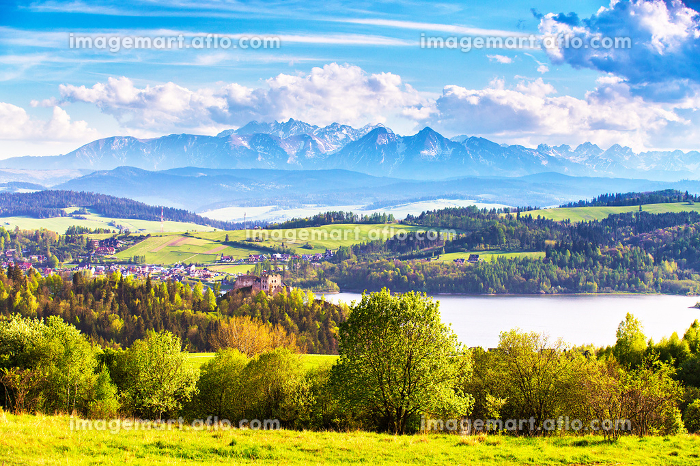 Green fields and meadows in Poland. Czorsztyn castle behind Tatra Mountains