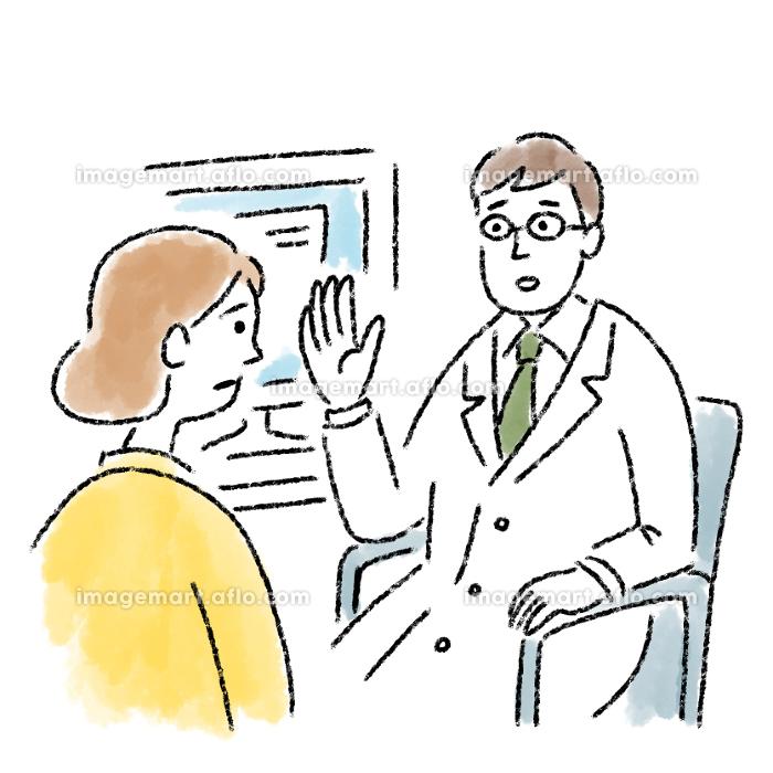 医者 若い 女性 診察 問診 困っている 水彩 手描きの販売画像
