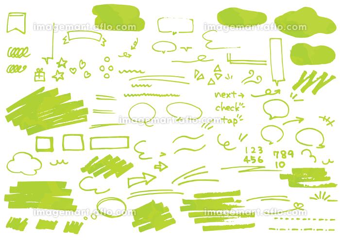 カフェ風おしゃれ吹き出し&あしらいセット 厚塗り風 緑の販売画像