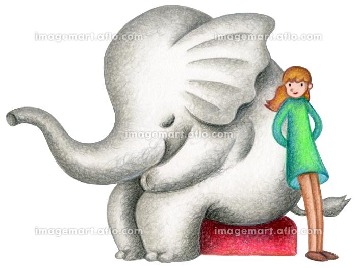 象と少女の販売画像