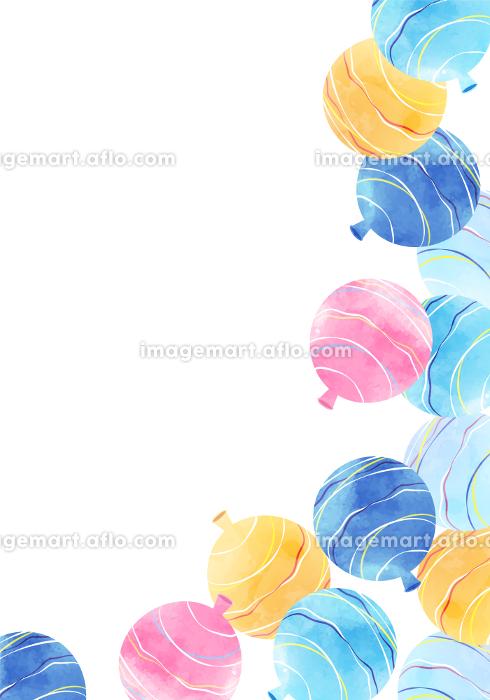 水風船, ヨーヨー, 水彩, 夏祭り, ベクター, 背景, コピースペース, フレーム, 夏, 風景の販売画像