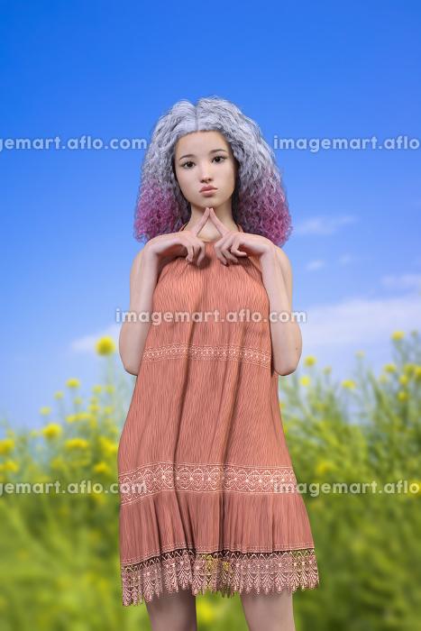 青空と菜の花を背景にワッフルヘアの女子が口を尖らせ両手の人差し指を胸の前で付き合わせている