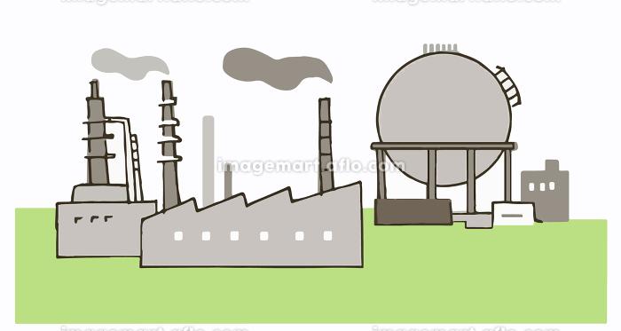 工場とガスタンクの販売画像