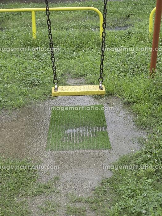 雨にぬれた公園のブランコの販売画像