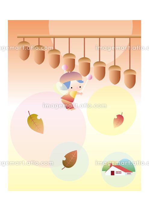 ドングリの楽器を叩く女の子の妖精の販売画像