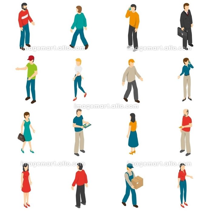 People Isometric Icons Set. Isometric icons set of different people diverse by job education level sex clothes hairs isolated vector illustration