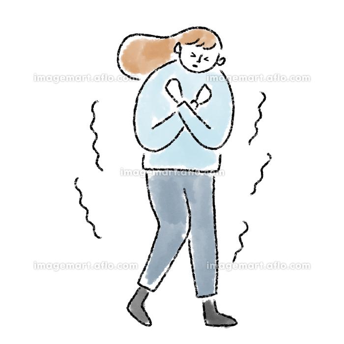 女性 寒い 凍える 冷え性 冬 水彩 手描きの販売画像