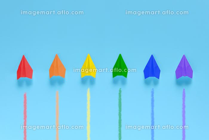 6機の虹色の紙飛行機 1の販売画像
