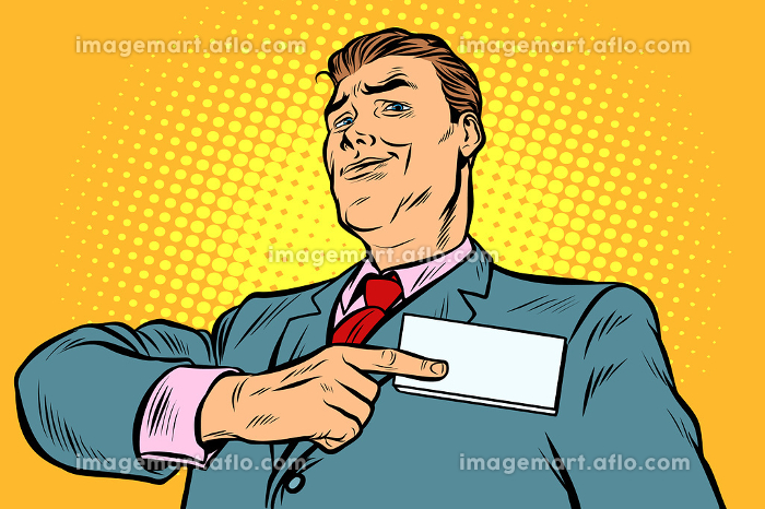 Businessman points at a name badge idの販売画像