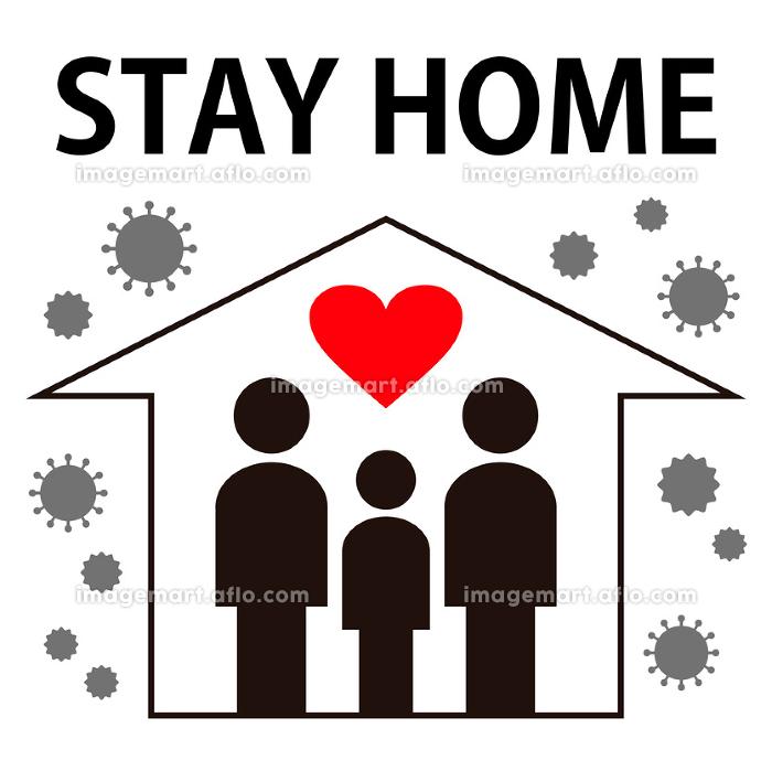 【COVID-19 新型コロナウイルス関連イラスト素材】ステイホームのベクター画像の販売画像