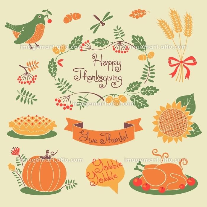 Happy Thanksgiving set of elements for design. Vector illustration.
