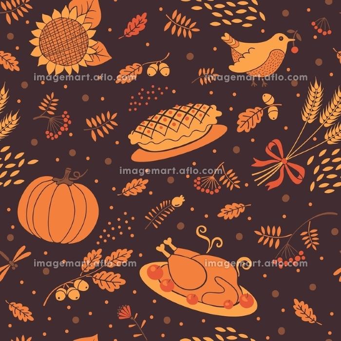 Seamless pattern autumn season. Beautiful background for Thanksgiving. Vector illustration.