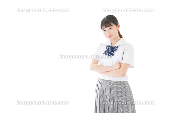 制服姿の女子学生ポートレートの販売画像