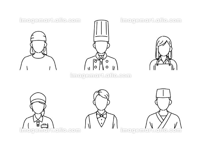 料理人 シェフ 調理師 アイコン 飲食店の店員 人々 顔なし イラスト素材の販売画像