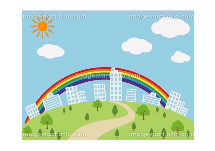 ビルの街並みと虹 イラスト ベクターの販売画像