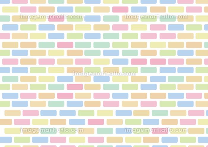 かわいいレンガの背景 横 虹色の販売画像