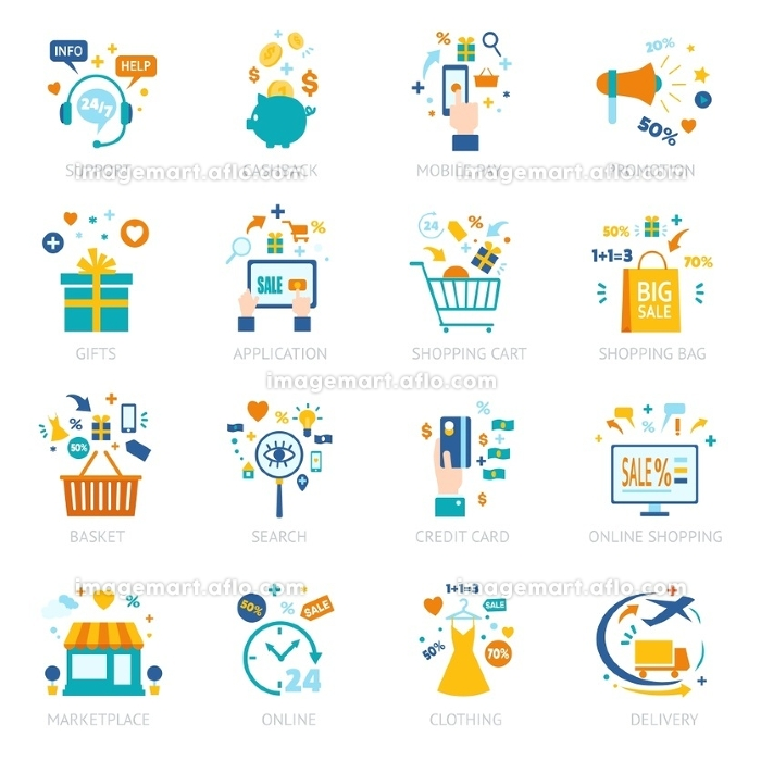 Online Shopping Icons Set. Online shopping icons set with different marketing financial technologic banking elements and devices isolated vector illustration