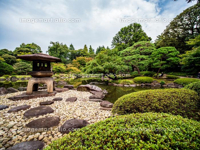 秋の日本の伝統的な庭園の風景 10月の販売画像