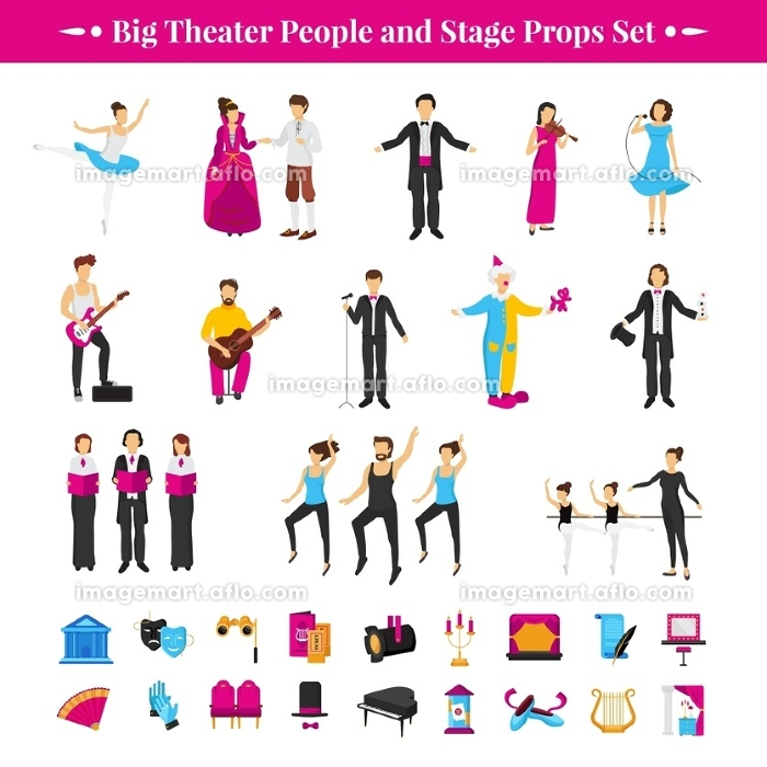 Stage Props Set. Stage props set with actors dancers and musicians flat isolated vector illustration