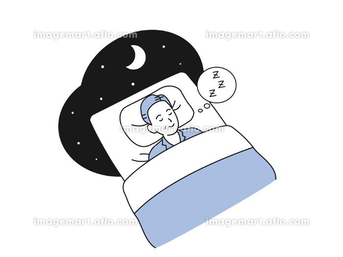 布団で眠る中高年の男性 就寝 睡眠 ミドル イラスト素材の販売画像
