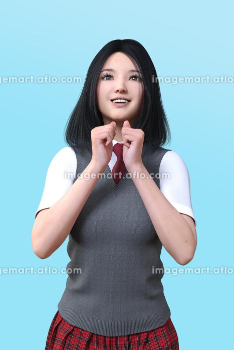 グレーのベストを着て赤いネクタイをした女子高生が両手を胸の前で握りこぶしをして笑顔を向けるの販売画像